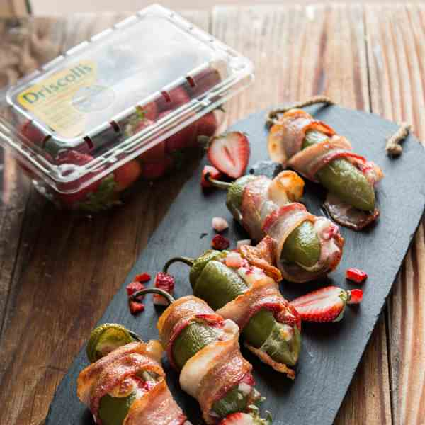 bacon wrapped strawberry stuffed jalapenos