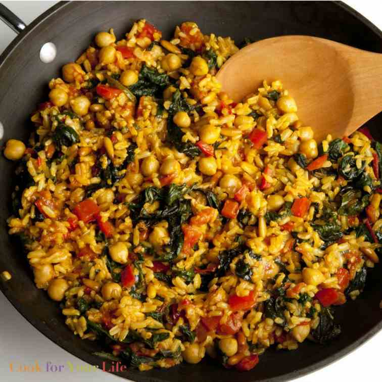 Brown Rice Paella with Chickpeas