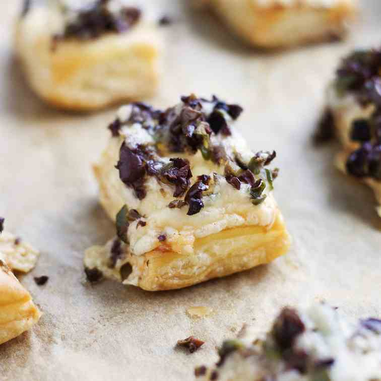 Olive and Gruyere Puff Pastry Tartlets