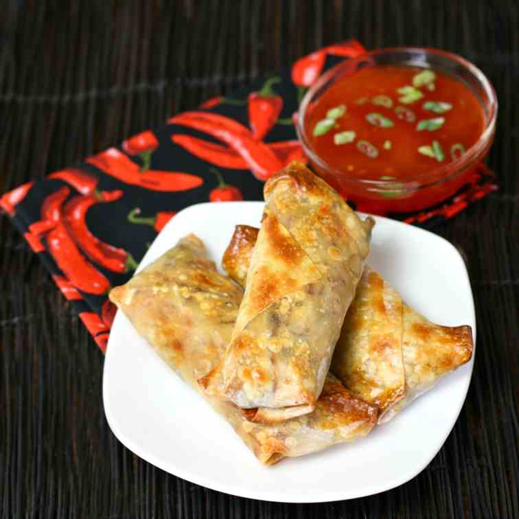 Turkey Spinach Crispy Baked Egg Rolls