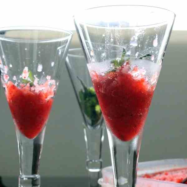 Strawberry Granita with Aperol