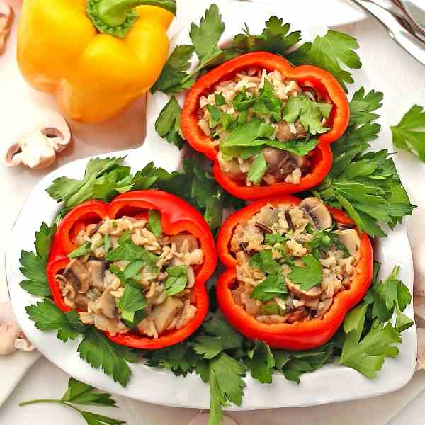 Stuffed Bell Peppers Wild Rice Mushrooms