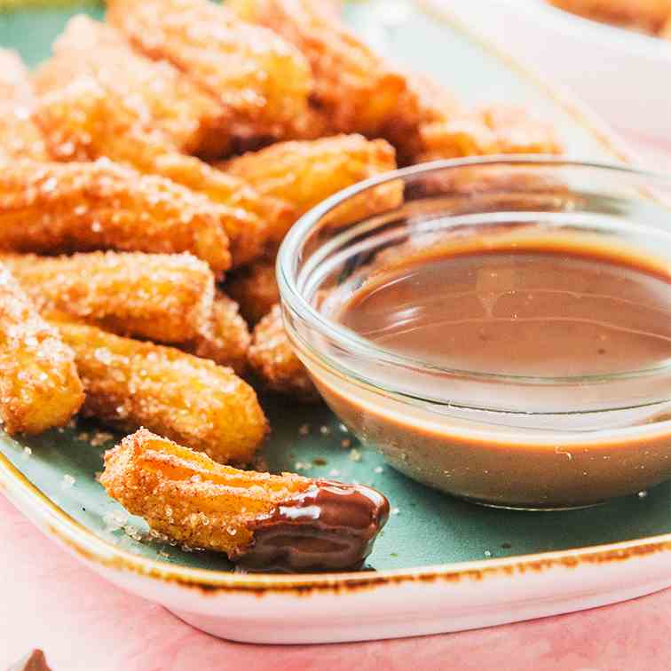 Cinnamon Churro Bites with Chocolate Sauce