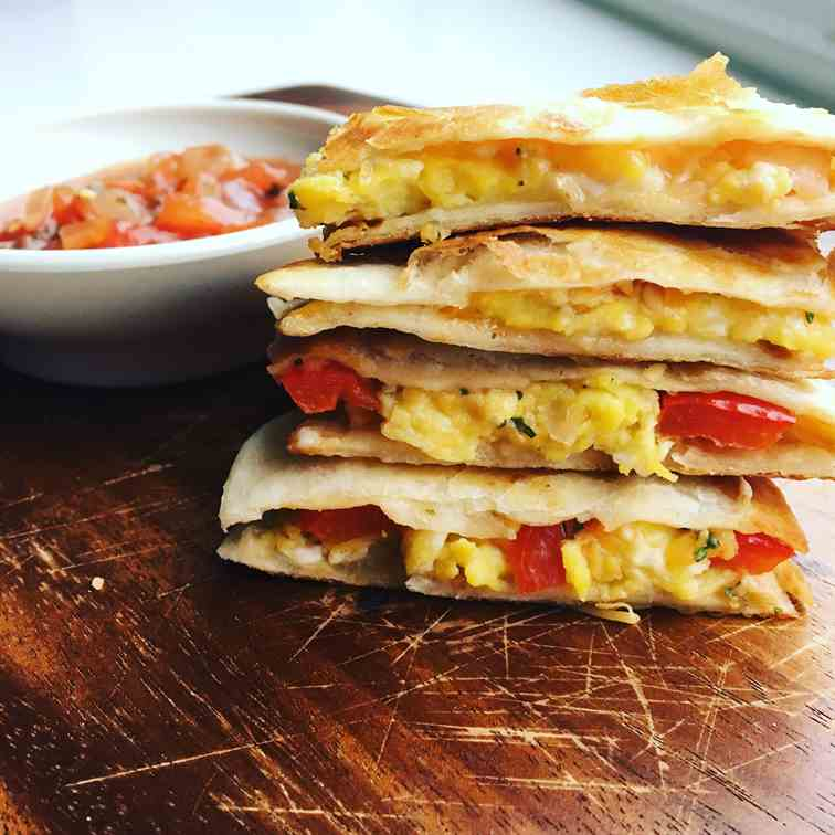 Egg Cheese and Red Pepper Quesadillas