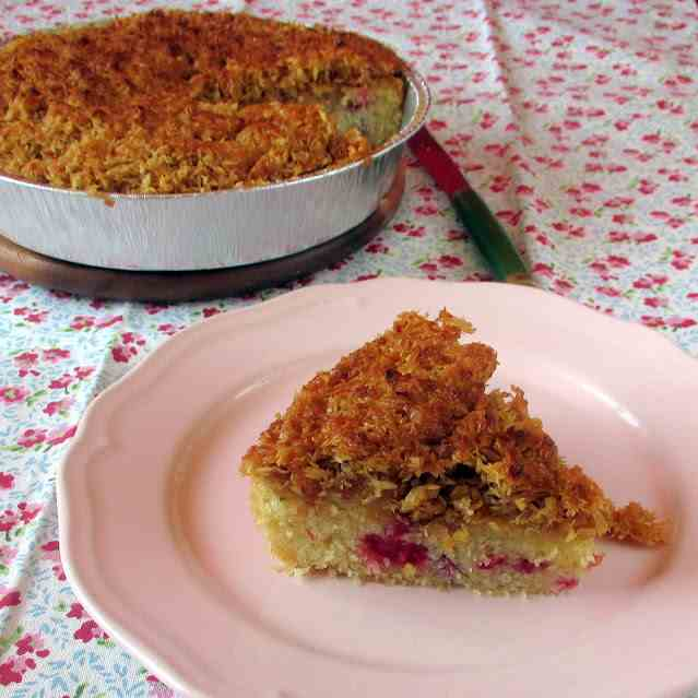 Raspberry Cake with Coconut-Caramel Toppin