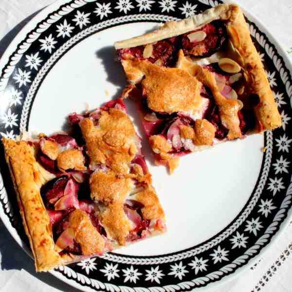 Prune Pie with Almond Baiser