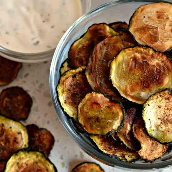 Baked Zucchini Chips Keto Friendly