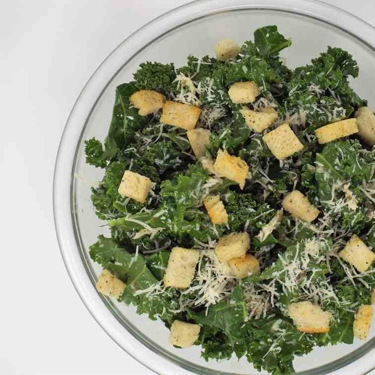 Kale Caeser Salad with Sourdough Croutons