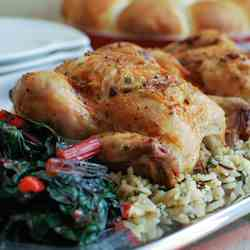 Roasted Cornish Game Hens with Bacon-Herb