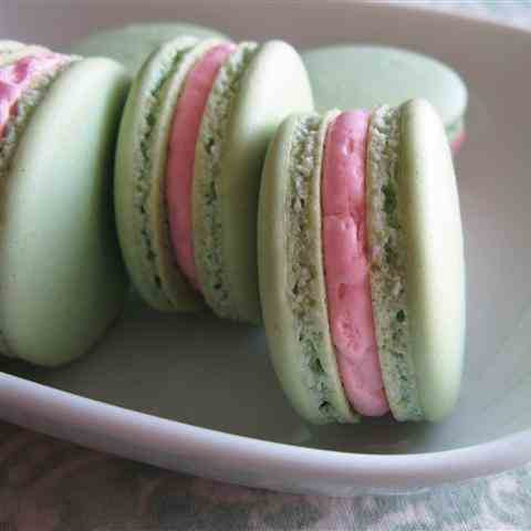 Pistachio Macarons with Rose Buttercream