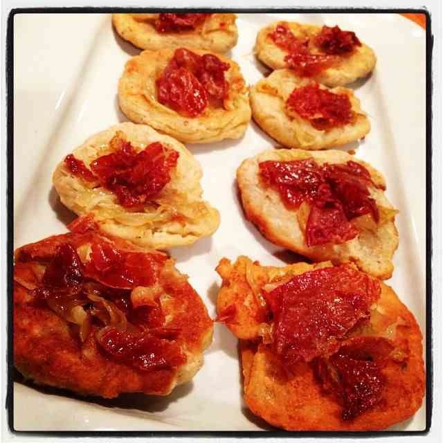 Fried Pizzettes w/ Onions & Prosciutto