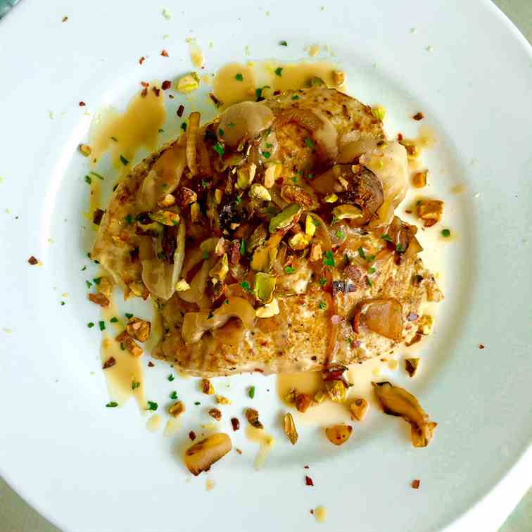 Chicken with Cumin, Tahini, - Burnt Onions