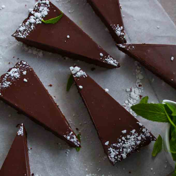 Mint Chocolate Fudge Brownie Tart