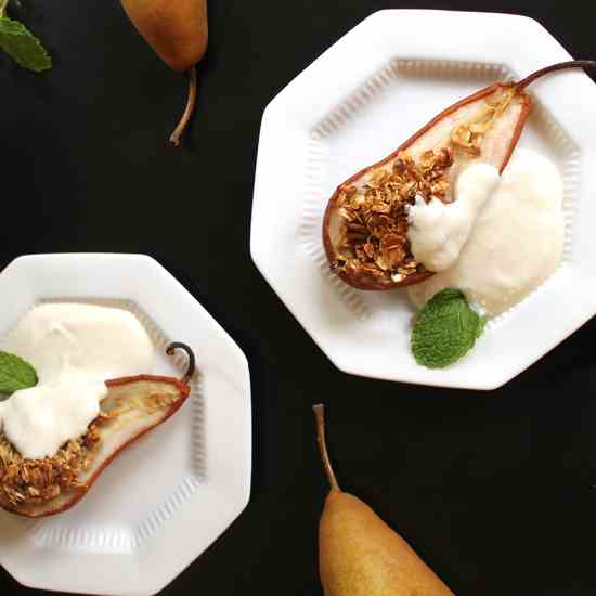 Baked Pears with Ricotta Yogurt Cream