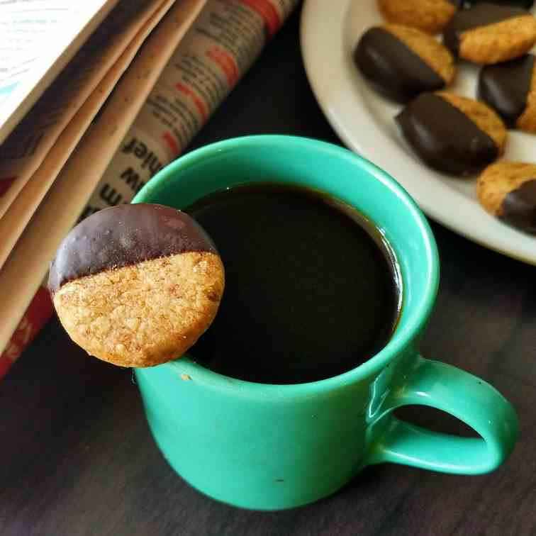 Chocolate dipped coffee shortbread