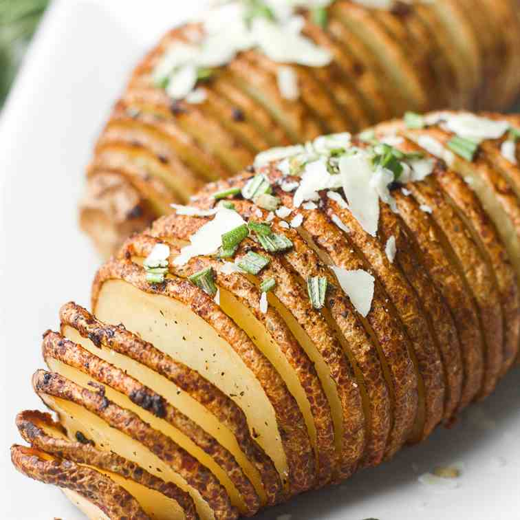 Hasselback Potatoes and Garlic Herb Butter