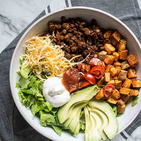 Easy Lentil Sweet Potato Taco Bowl