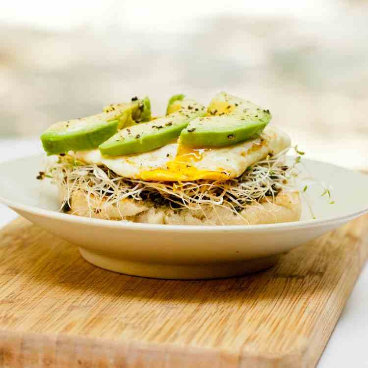 English Muffin with Eggs, and Avocado