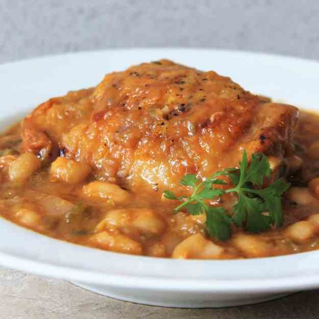 Chicken Thighs with BBQ Beans