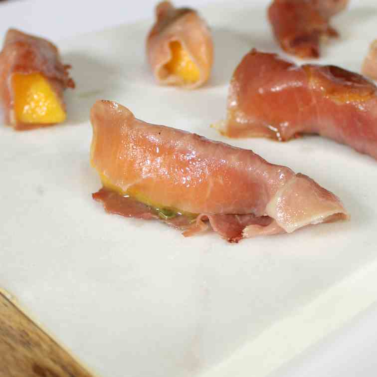 Basil Infused Prosciutto Wrapped Peach