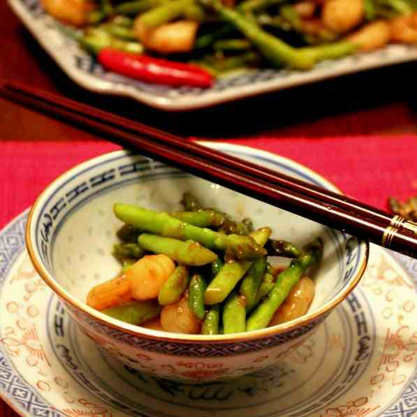 Chinese fried Thai Asparagus with Shrimps