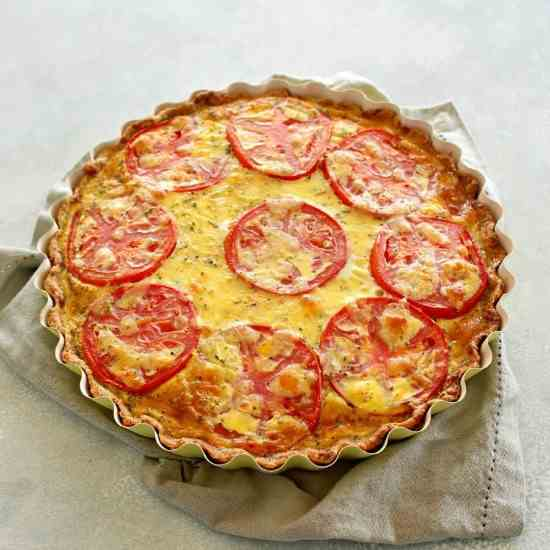 Easy Cheese Crust Tomato Quiche