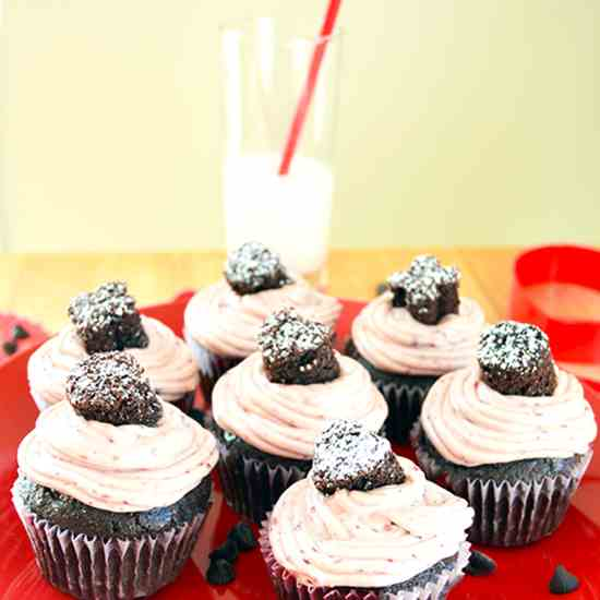 Double Chocolate Cupcakes Cherry Frosting