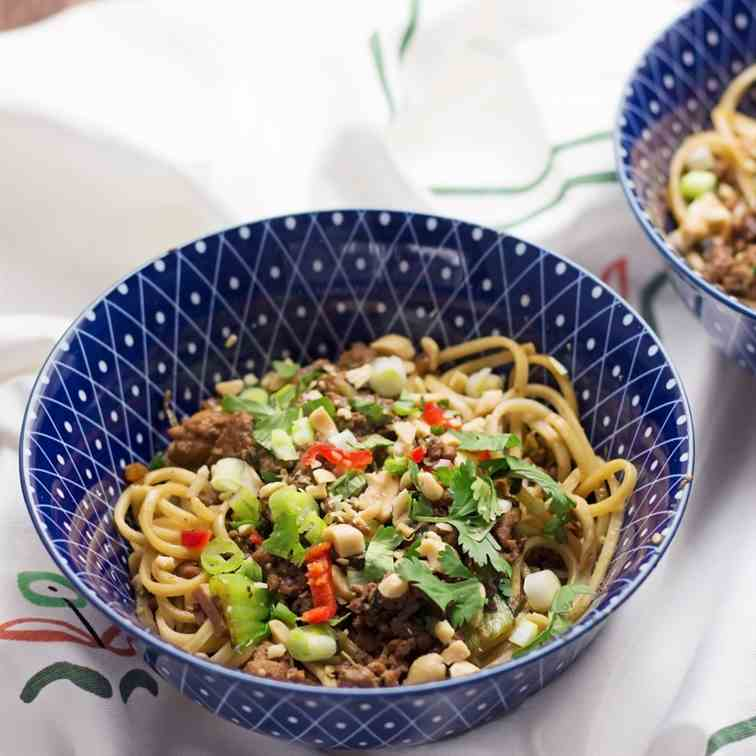 Spicy Pork Mince Noodles