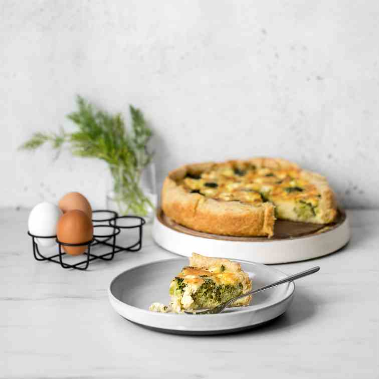 Broccoli and Cheese Quiche with Feta