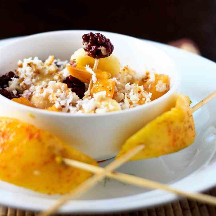 Fruit Salad with coconut & Mango skewers