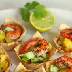 Shrimp salad in a savory cup