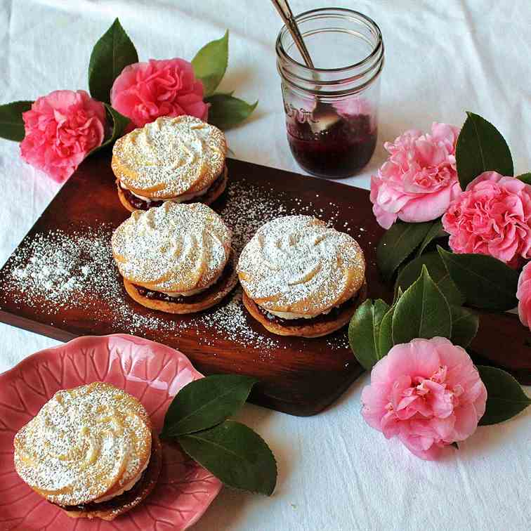 Raspberry-Rose Viennese Whirls