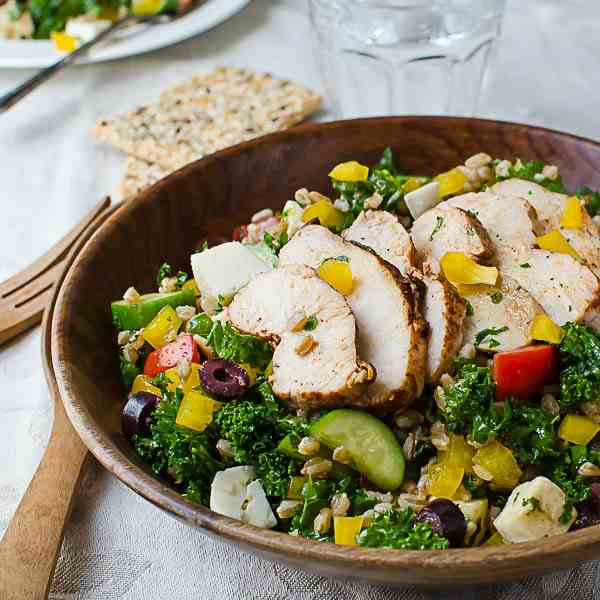 Chicken Kale Farro Salad with Honey Balsam