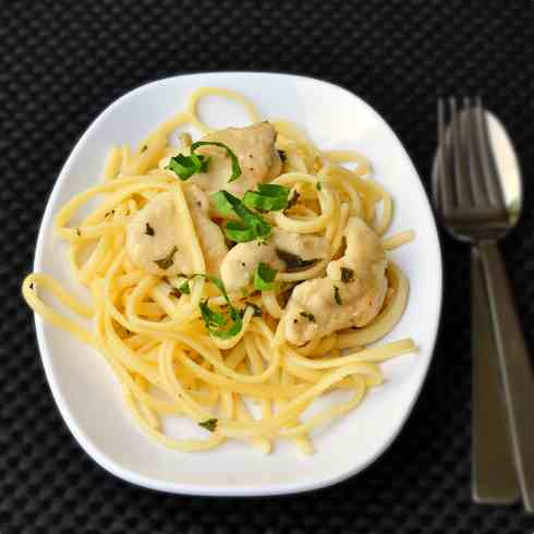 Quick and easy chicken piccata linguini
