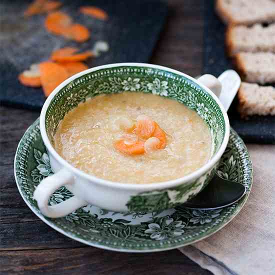 Sweet potato cream soup with ginger