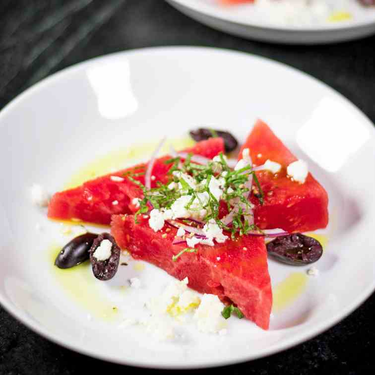 Watermelon Salad with with Feta - Mint