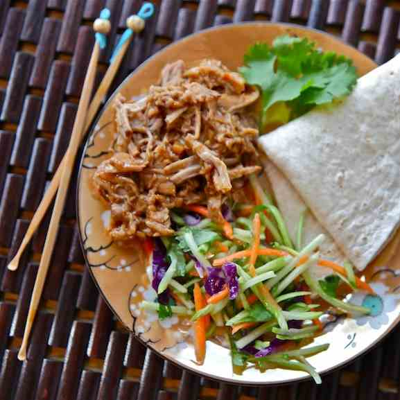 General Tso's Slow-cooked Pork Tacos