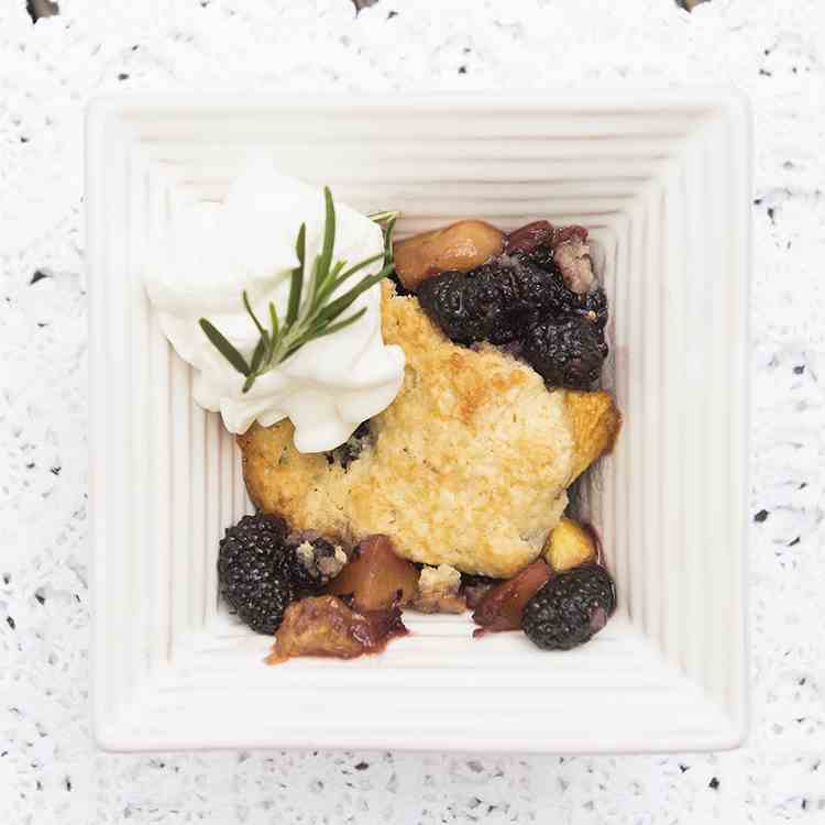 Ultimate Mulberry Peach Cobbler