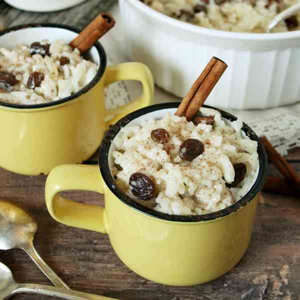 Rum and Raisin Rice Pudding