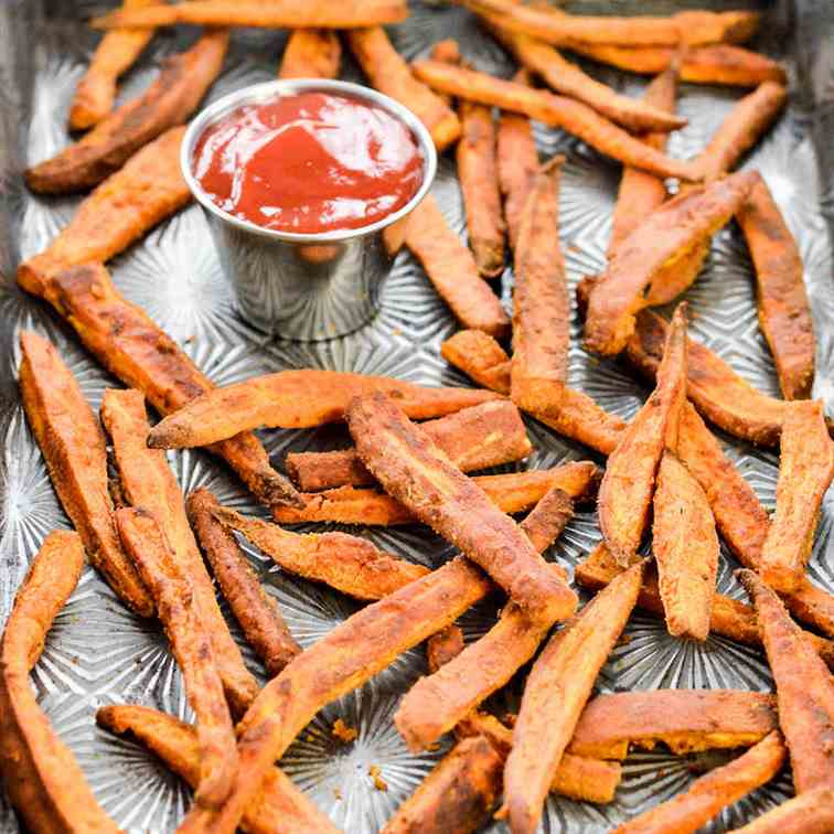 Peanut Butter Crusted Sweet Potato Fries