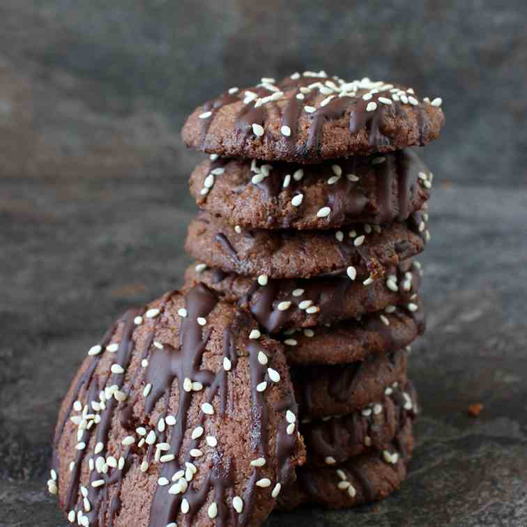Triple Chocolate Tahini Cookies