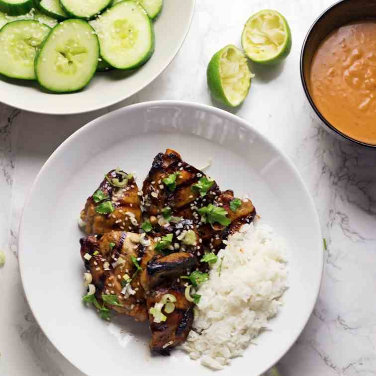 Grilled Chicken with Peanut Sauce