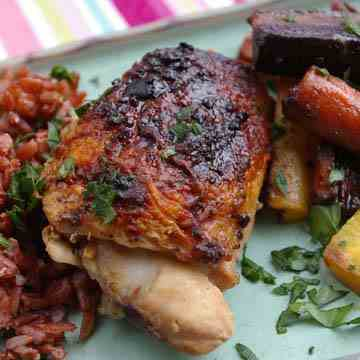Fig Balsamic Chicken with Rainbow Carrots