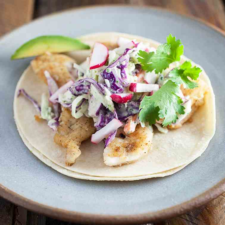 Fish Tacos with Spicy Cilantro Lime Slaw