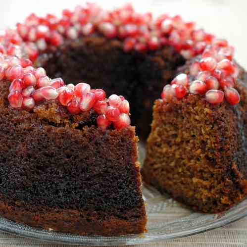 Applesauce Cake with Pomegranate Glaze