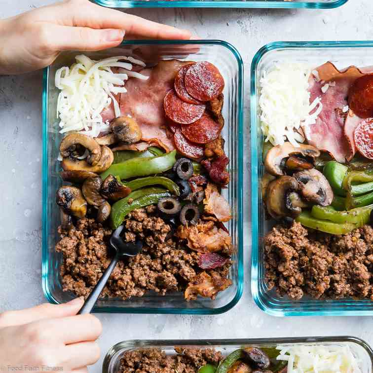 Keto Low Carb Pizza Meal Prep Bowls