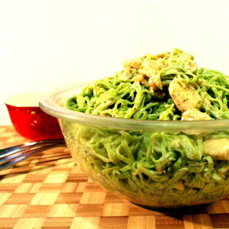 spinach Noodles with chicken and herb chee