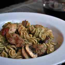 Almond Pesto Pasta with Chicken & Sausage