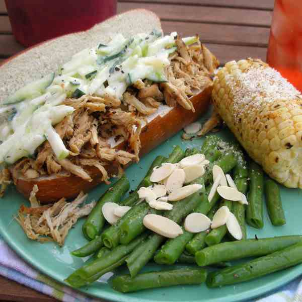 Pulled Chicken with Apple Cucumber Slaw