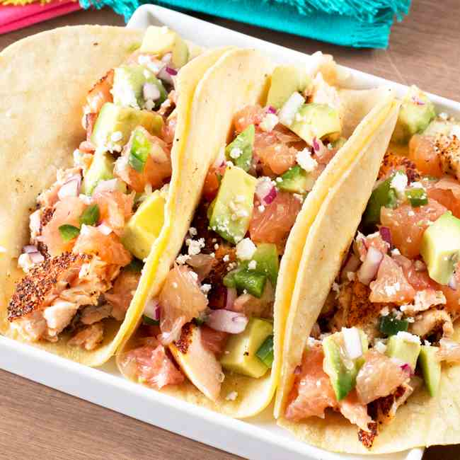 Salmon Tacos with Grapefruit Avocado Salsa